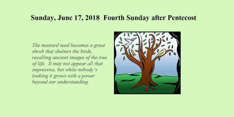 Sunday, June 17, 2018 - Fourth Sunday after Pentecost - Bethesda Lutheran  Church of Malmo, MN